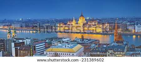 Budapest. Panoramic image of Budapest, capital city of Hungary, during twilight blue hour. - stock photo
