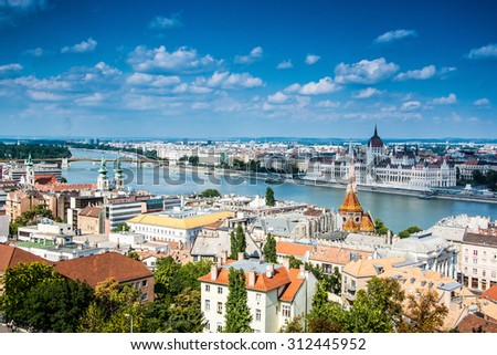 Budapest panoramic view from the Citadel with bridges and the Parliament - stock photo