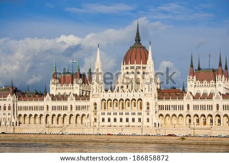Budapest parliament building on the Danube river, Hungary. - stock photo
