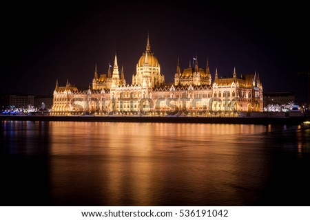 Budapest Parliament in Hungary at night