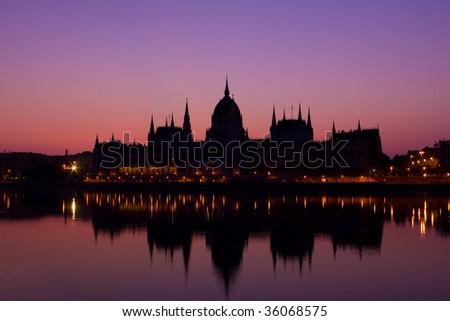 Budapest parliament in sunrise - stock photo