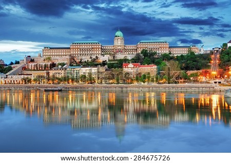 Budapest Royal palace with reflection, Hungary - stock photo