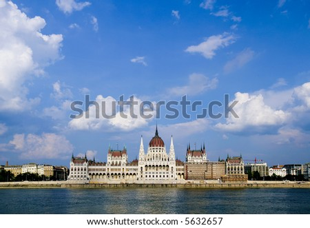 Budapest Summer, Danube behind the parlaiment - stock photo