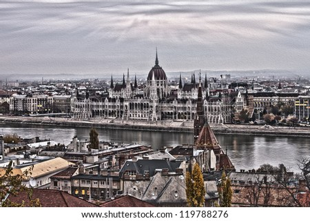 Budapest View to the Parliament Building Paint Design - stock photo