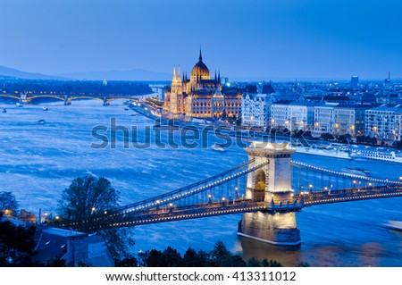 Budapest view with Chain Bridge and Parliament Building, Budapest, Hungary