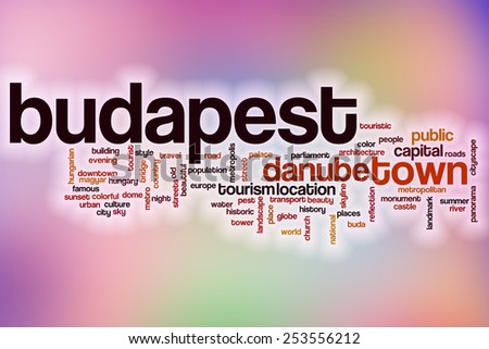 Budapest word cloud concept with abstract background - stock photo