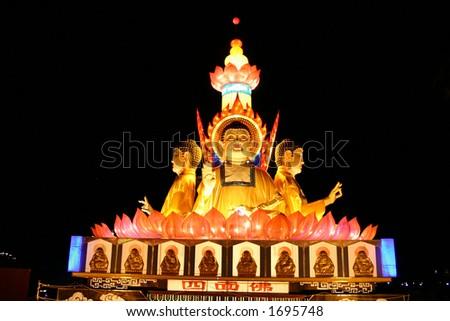 Buddas at Lantern Festival - stock photo