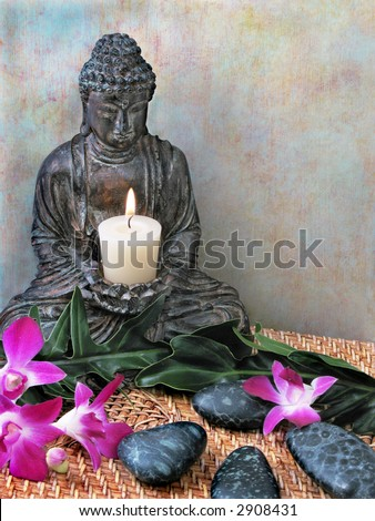 Buddha Altar with Candle, Orchids, & Massage Stones - stock photo