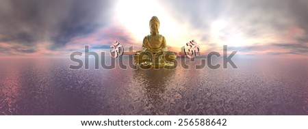 Buddha and aum symbol upon ocean by colorful sunset, 360 degrees effect - 3D render - stock photo