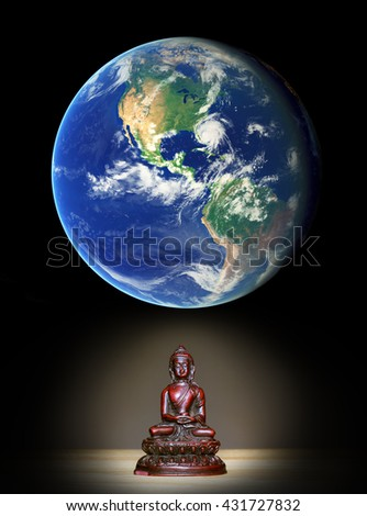 Buddha and holism - meditation leading to enlightenment and insight of universal harmony and connection of whole world - esoteric New age and Gaya ecology thinking. Element of image furnished by NASA - stock photo