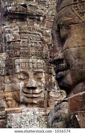 Buddha Face Statues in Angkor Wat - stock photo