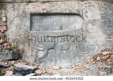 Buddha footprint in Wat Phu Champasak temple in Laos - stock photo