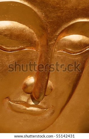 Buddha gold plated wooden portrait - stock photo