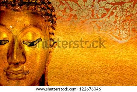 Buddha gold statue on golden background patterns Thailand. - stock photo