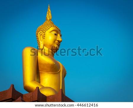 Buddha Golden on blue sky - stock photo