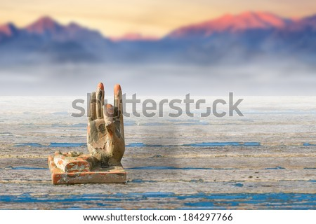 Buddha Hand in a Zen Garden with a Misty Mountain on the Background - stock photo