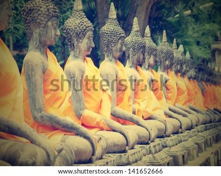 Buddha hand in Wat Yai Chai Mongkol- Ayuttaya of Thailand - stock photo