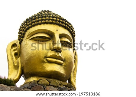 Buddha head isolated on white background