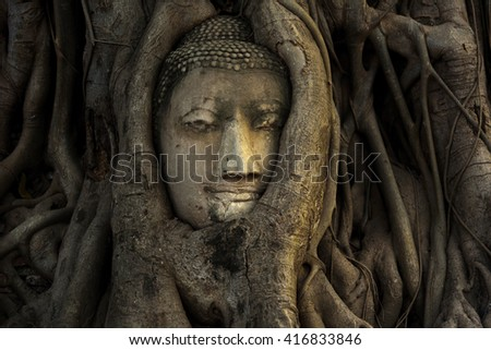 Buddha Head statue hidden in the tree roots. Ancient sandstone sculpture at Wat Mahathat. Ayutthaya, Thailand. - stock photo