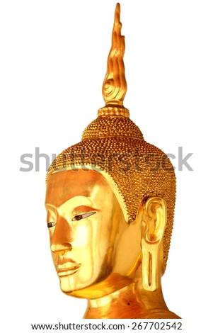 buddha head statue in buddhist temple at bangkok, thailand, isolated on white background - stock photo