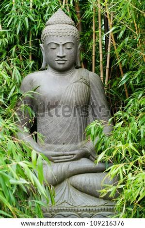 Buddha hidden in the Bamboo - stock photo