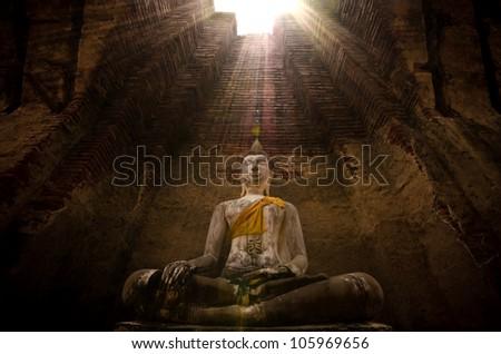 Buddha Image Ayutthaya Thailand Nakornluang Temple - stock photo