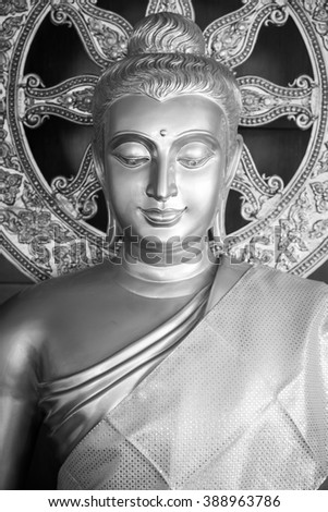 Buddha Image, Black and White - stock photo