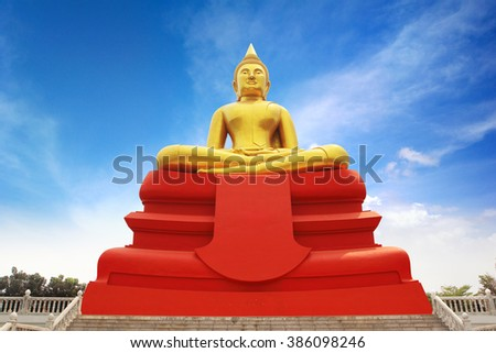 Buddha image Luang Pho Sothon that is one of the most worshiped Buddha images in Thailand. This statue location at Wat Bot Temple in Pathumthani, public temple in thailand. - stock photo