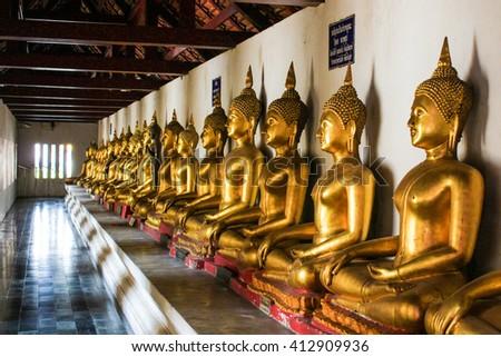 Buddha image (statue), Wat Phra Si Rattana Mahathat, Phitsanulok ,Thailand - stock photo