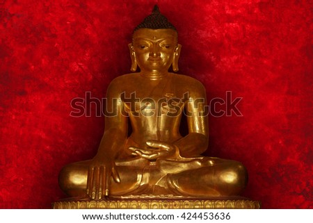 Buddha image with red background