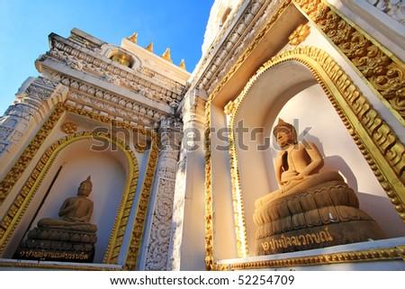 Buddha images on wall of India's style Stupa - stock photo