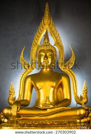 Buddha in church at Wat Benchamabophit, Bangkok, Thailand. - stock photo