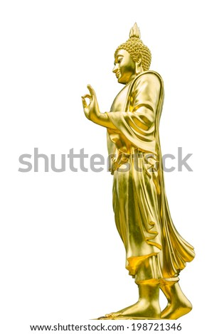 Buddha in gold on a white background.