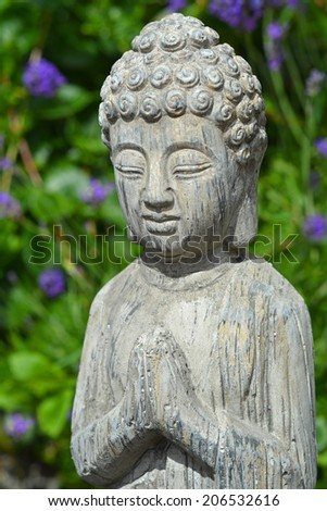 Buddha in Lavender garden - stock photo
