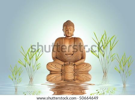 Buddha in meditation with bamboo leaf grass and reflection over rippled water, set against a pastel green background with white central glow. - stock photo