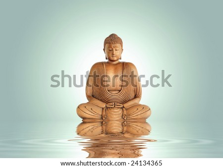 Buddha in meditation with reflection over rippled water, set against a pastel green background with white central glow. - stock photo