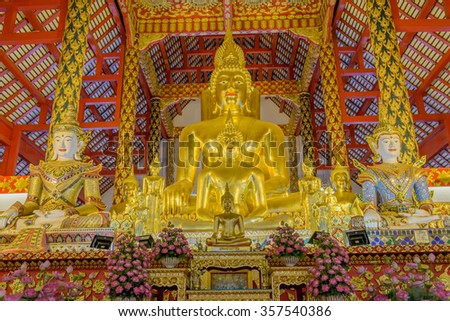 Buddha in  temple at Wat Suandok, Thailand.  - stock photo