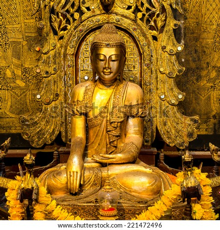 Buddha in the temple, Thailand - stock photo