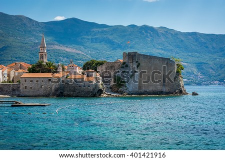 Buddha is main touristic center in Montenegro Old city center view. / .Buda in summer time, Montenegro. - stock photo