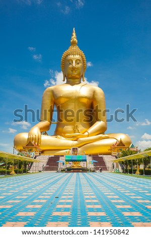Buddha meditation statue in Thailand - stock photo