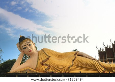 Buddha of Wat Pradhat Suthon, Denchai ,Phrae Province,Thailand - stock photo