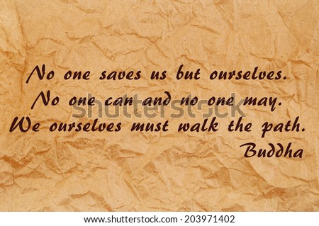 Buddha quote on old paper background