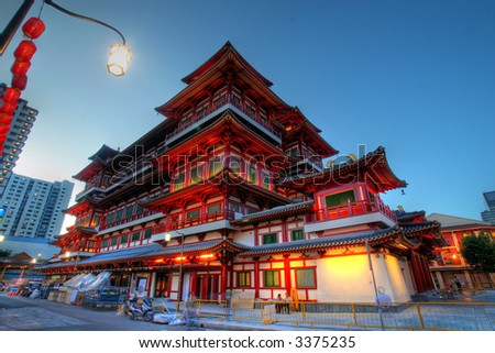 Buddha's Relic Tooth Temple in Singapore Chinatown - stock photo