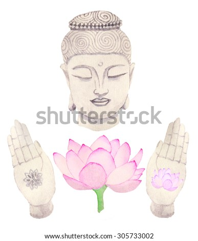 Buddha set. Hand-drawn doodle decoration elements. Real watercolor drawing.  - stock photo