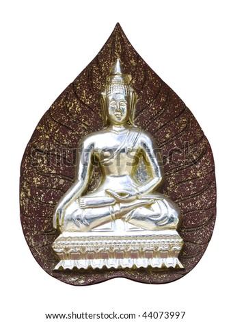Buddha sitting on a red leaf - stock photo