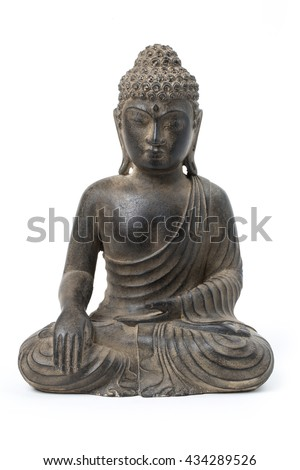buddha statue against a white background - stock photo