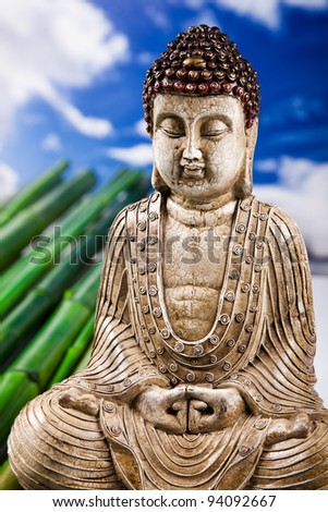 Buddha statue and bamboo