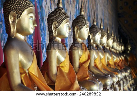 Buddha statue at Wat Arun in Bangkok, Thailand  - stock photo
