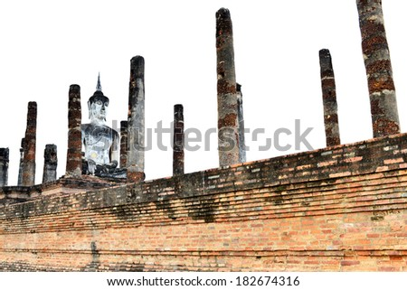 Buddha Statue at Wat Mahathat Temple in Sukhothai Historical park with isolated - stock photo