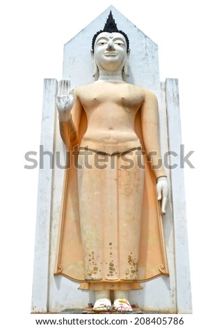 Buddha statue at Wat Phra Sri Rattana Mahathat Temple, Phitsanulok , Thailand, isolated on white background. - stock photo